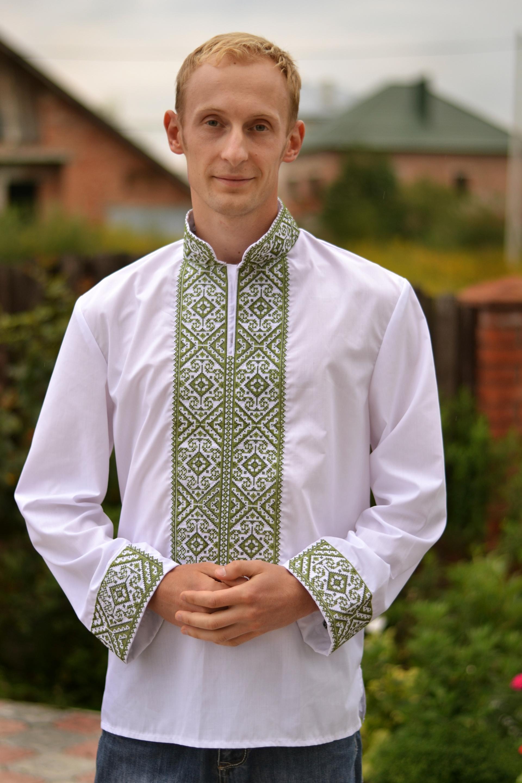 Вышивка на рукавах мужской рубахи 19